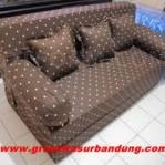 Sofa Bed Busa Super Motif Abstrak Coklat 120