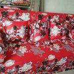 Sofa Bed Super 140x200x20 Motif Bunga Merah